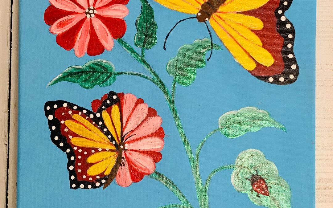 Flower and Butterfly Painting Party Hosted by Carol Banville