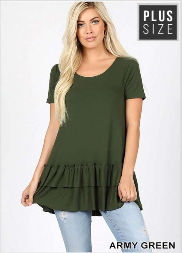 Zenana Plus Size Ruffle bottom Top Army Green