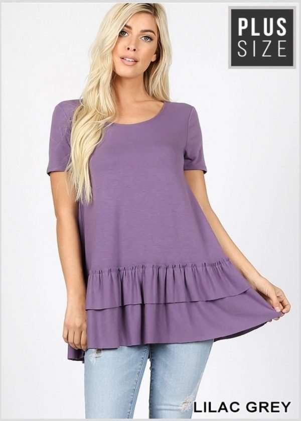Zenana Plus Size Ruffle bottom Top Lilac Grey