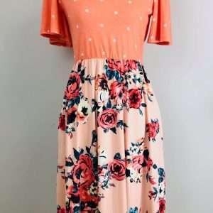 Polka Dot and Floral dress Spring Easter
