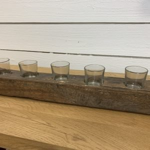 Weathered wood plank with 5 votive holders