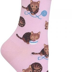 pink cat with yarn crew sock