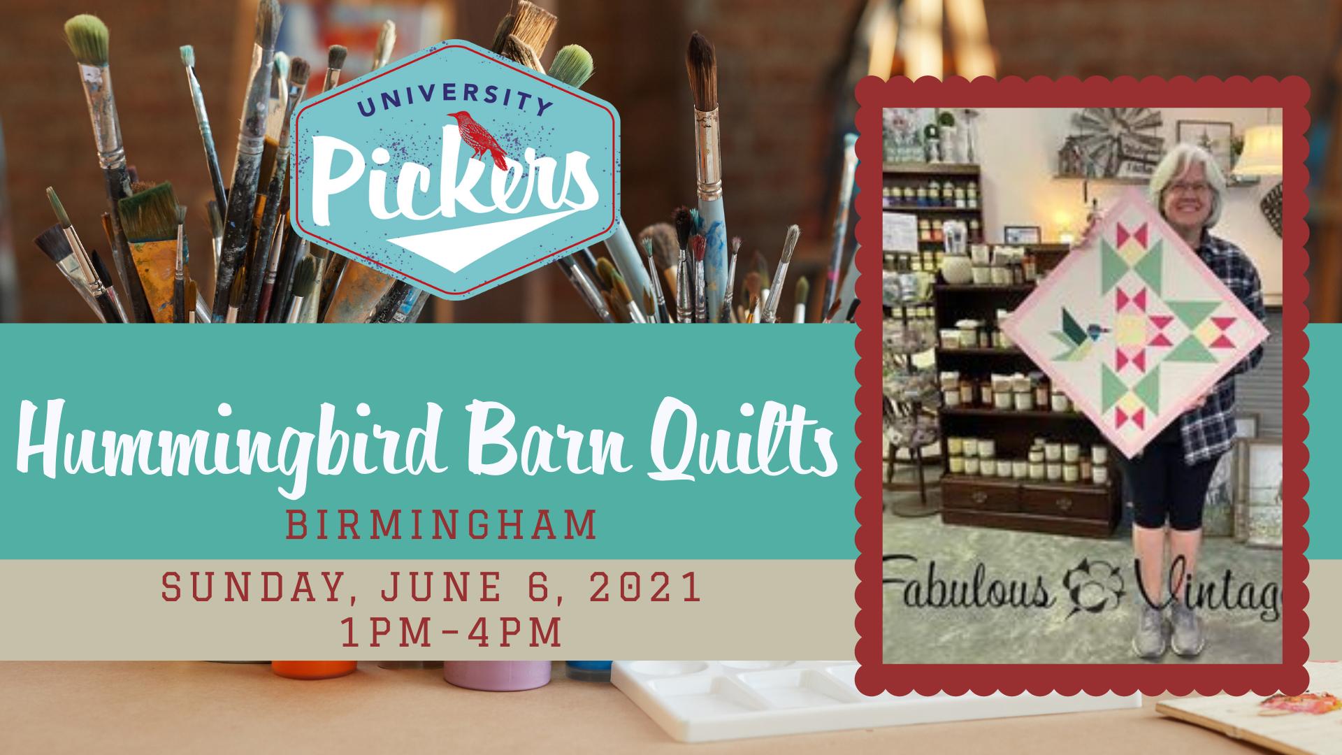 Sunday, June 6 1:00-4:00 Hummingbird Barn Quilts