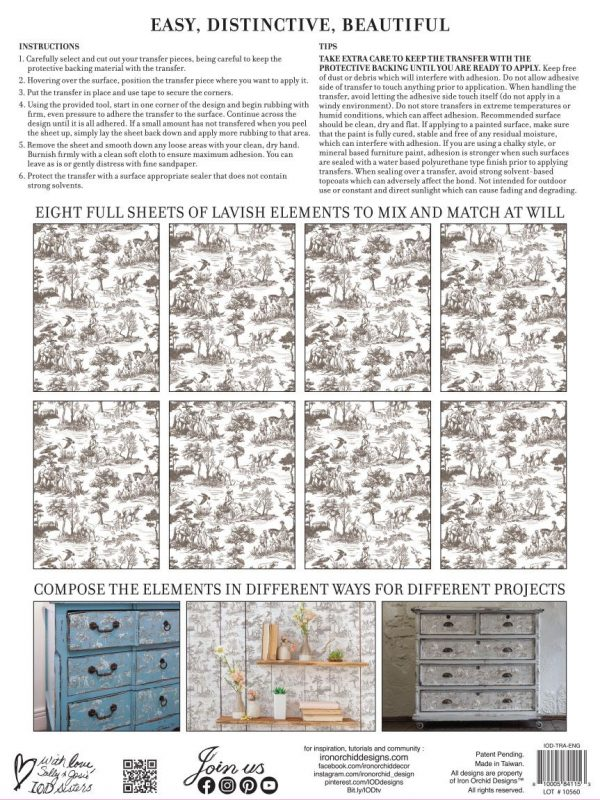 English Toile Transfer Iron Orchid Designs